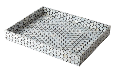 Tray • Black Hex Mother of Pearl Tray (Large)
