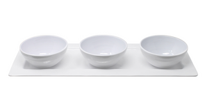 Bistro Bianco Melamine Rectangular Platter with 3 Bowls