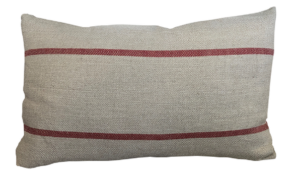 Red Stripe Lumbar Pillow