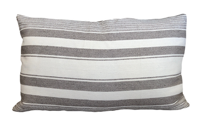 White Stripe Lumbar Pillow