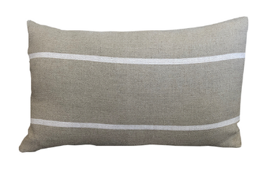 Taupe Stripe Lumbar Pillow