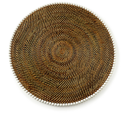 Round Rattan Placemat with Beads
