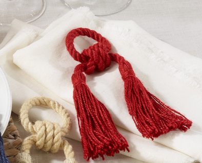 Jute Tassel Red Napkin Ring (Set of 4)