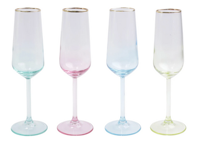 Rainbow Assorted Champagne Flutes (Set of 4)