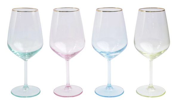 Rainbow Assorted Wine Glasses (Set of 4)