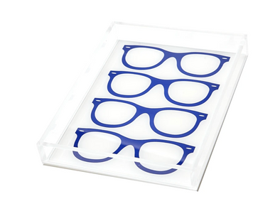 Lucite Glasses Icon Tray (Blue)