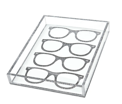 Lucite Glasses Icon Tray (Silver Glitter)