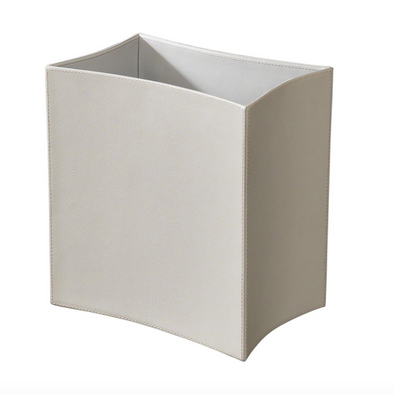 Folded Leather Waste Basket (Grey)