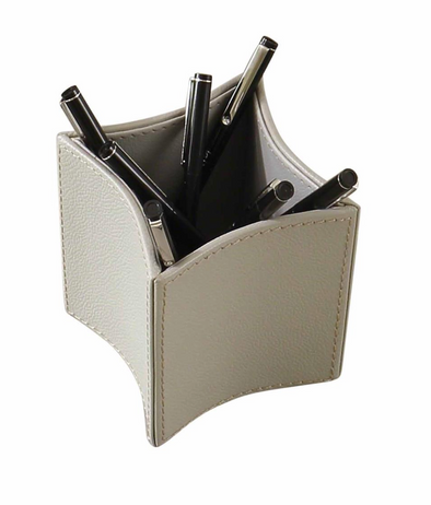 Folded Leather Pencil Cup (Grey)