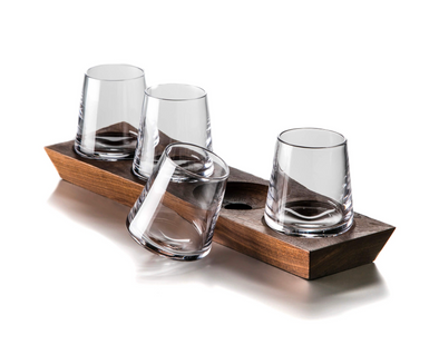 Simon Pearce Ludlow Whiskey Set With Wood Base