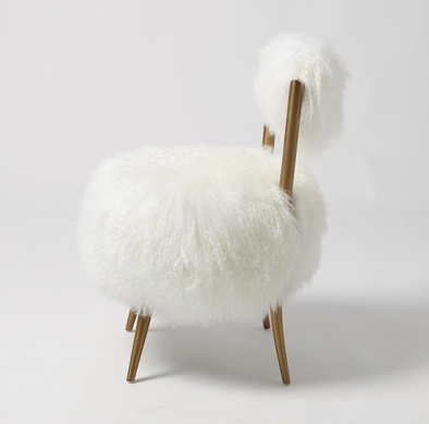 Hailey Chair in White Mongolian Lamb