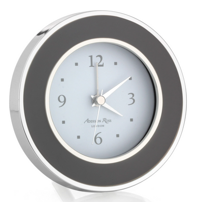 Round Taupe & Silver Alarm Clock