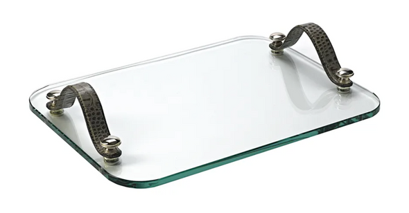 Crystal Tray with Grey Leather Handles