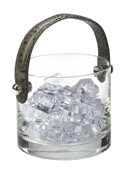Crystal Ice Bucket with Grey Leather Handle