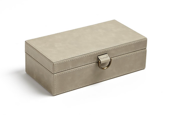 Marbled Leather D Ring Box (Grey)