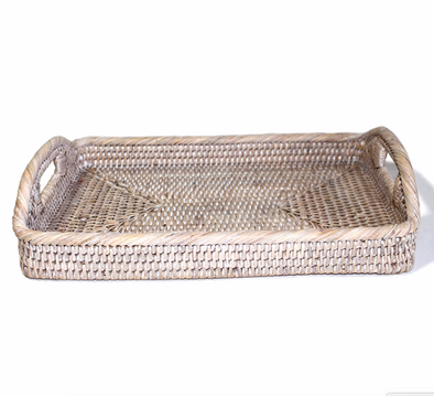 Tray • Small Whitewash Rectangular Breakfast Basket