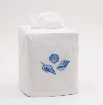 Tissue Cover • Embroidered • Indigo Shells
