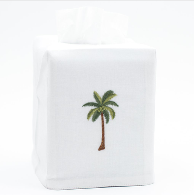 Tissue Cover • Embroidered Tissue Cover • Palm Tree