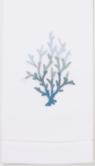 Embroidered Hand Towel • Blue Coral