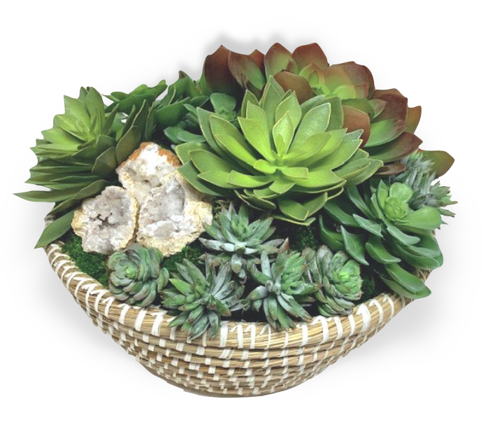 Custom Faux Succulent Arrangement in Basket
