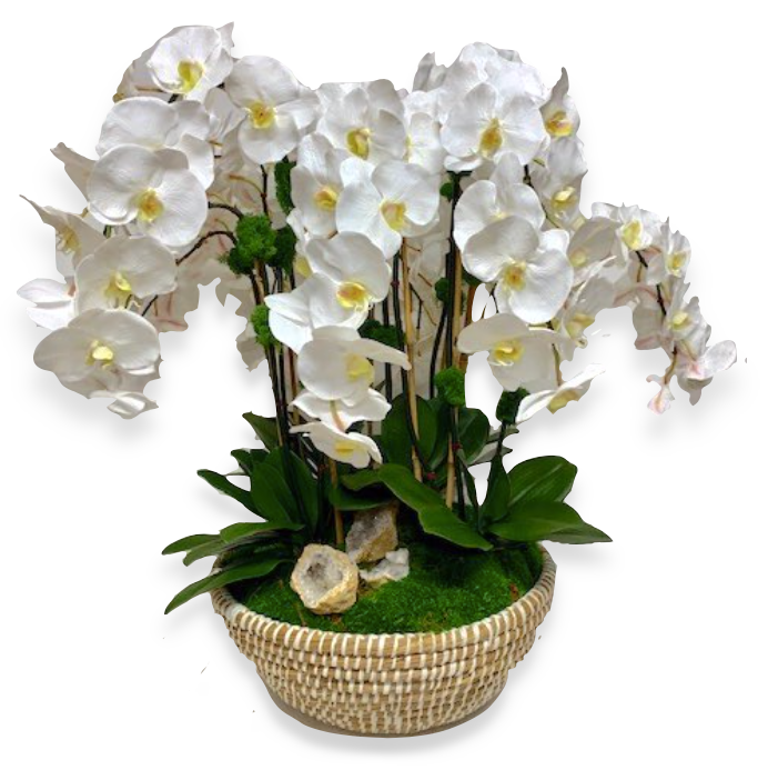 Custom Faux Orchid Arrangement in Basket