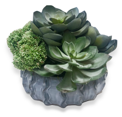 Custom Faux Succulent Arrangement in Ceramic Pot