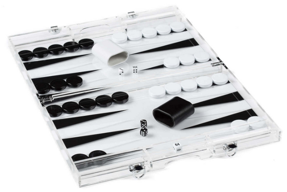 Travel Size Acrylic Black & White Backgammon