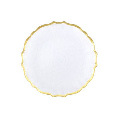 Vietri Baroque Glass White Salad Plate (Set of 4)