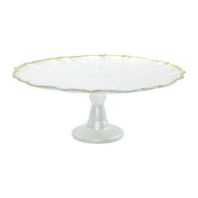 Vietri Baroque Glass • White Cake Stand