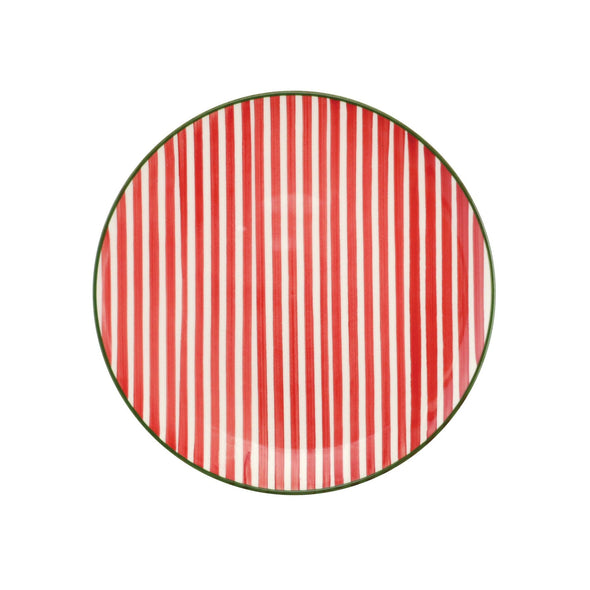 Mistletoe Stripe Salad Plate (Set of 4)