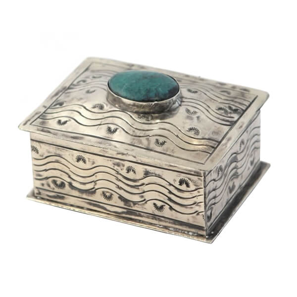 Silver & Turquoise Stamp Box