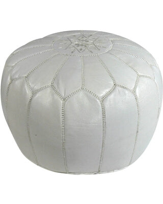 White Leather Pouf