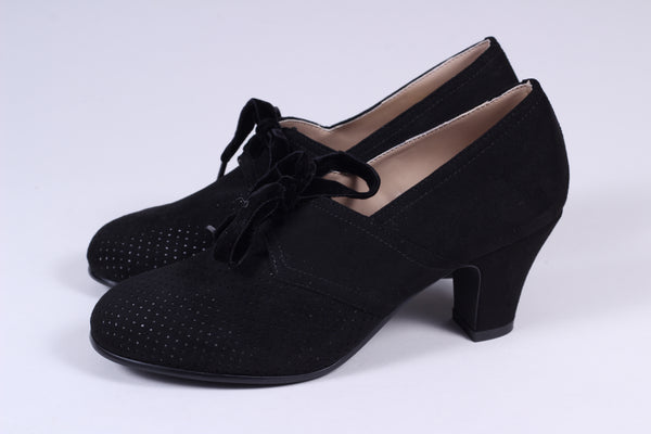 VEGAN - 1940'er vintage style pumps med snøre -Sort - Esther
