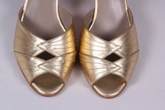 1930'er vintage style Spanish medium high heel sko - Guld - Susan