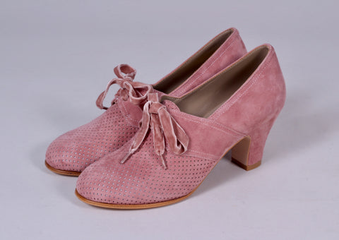 40'er vintage style pumps i ruskind med snøre - dark powder rose