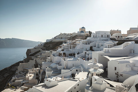 View over the town of Oia, Santorini, Greece.