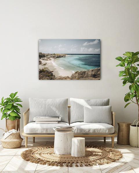 Horizontal photo of Director's Bay beach, Curaçao. Horizontal photo presented on a white wall in a modern living room.