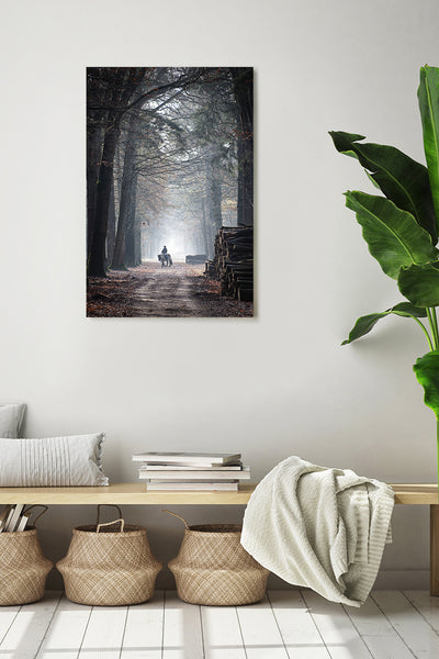 Vertical photo of a road in Mastbos, Breda, Netherlands, shown on a white wall in a modern living room.