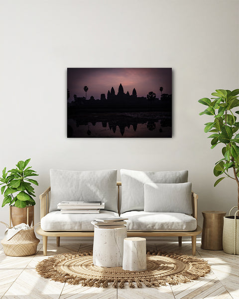 Sunrise at the majestic temple complex of Angkor Wat, Siem Reap, Cambodia. Horizontal photo shown on a white wall in a modern living room.