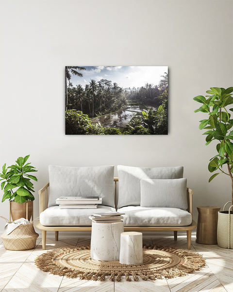 Sunset over the sawas. Horizontal photo shown on a white wall, in a modern living room.