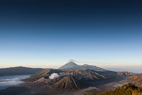 View at the volcanoes of the Bromo Tengger Semeru National Park.