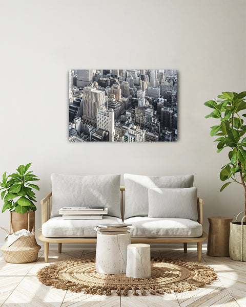 View from Top of the Rock over Midtown New York. Horizontal photo shown on a white wall in a modern living room.