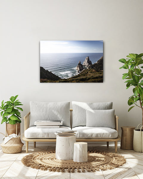 Atlantic Ocean seen from the top of a hill in Praia da Ursa. Horizontal photo show on a white wall, in a modern living room.