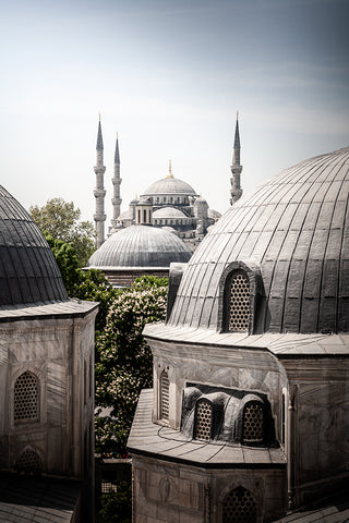 Vertical photo of view over the Blue Mosque from the Hagia Sophia Mosque, Istanbul, Turkey.