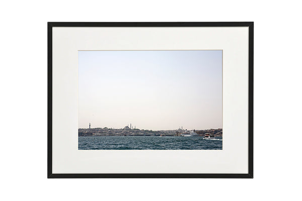 View over the Golden Horn and old city centre from the Bosporus canal, Istanbul, Turkey. Photo shown in a normal frame.
