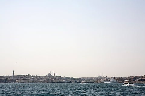 Horizontal view over the Golden Horn and old city centre from the Bosporus canal, Istanbul, Turkey.