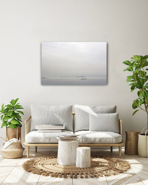 View to the Prince's Islands, from the Bosporus canal. Horizontal photo shown on a white wall, in a modern living room.