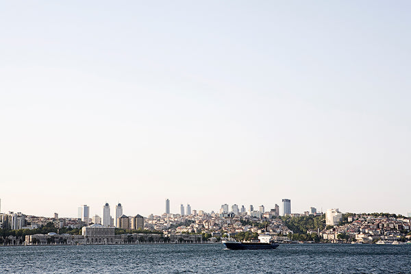 View from the Bosporus canal to the modern business district of Istanbul.