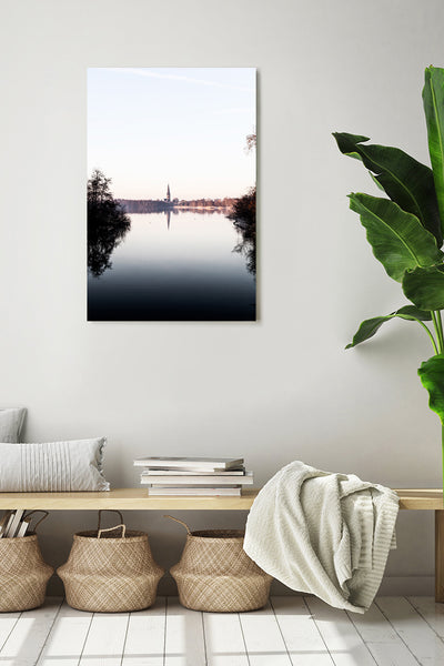 Morning view at De Poel, a lake near Amstelveen, the Netherlands. Vertical photo on a white wall in a modern interior.