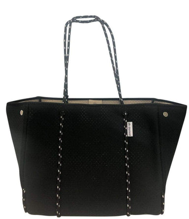 Ahdorned Handbags Ahdorned Perforated Solid Neoprene Tote w/Pop Color Interior Black/Camel